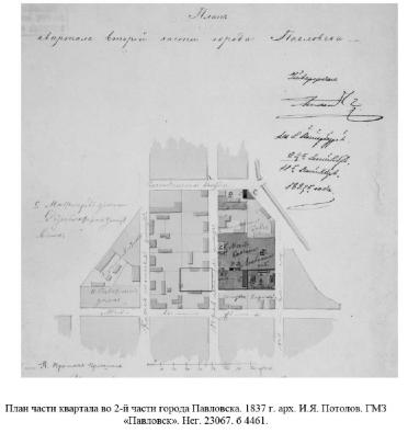 План части квартала на Правленской ул., 1837 г. арх. И.Я. Потолов (по материалам ГИКЭ)